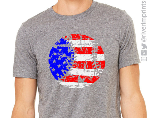FLAG BASEBALL Graphic Triblend Tee by River Imprints