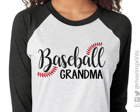 BASEBALL GRANDMA Glittery Triblend Raglan by River Imprints