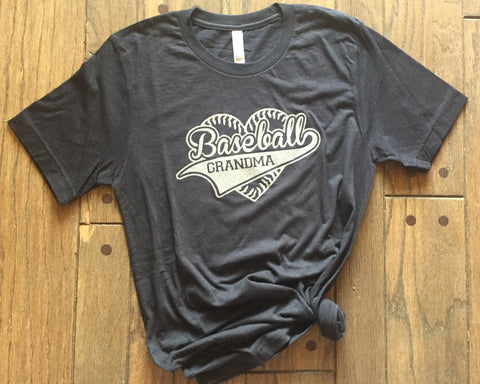 SALE - BASEBALL GRANDMA Heart Triblend Tee Shirt