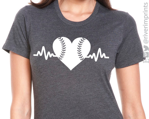 BASEBALL HEARTBEAT Graphic Triblend Tee River Imprints