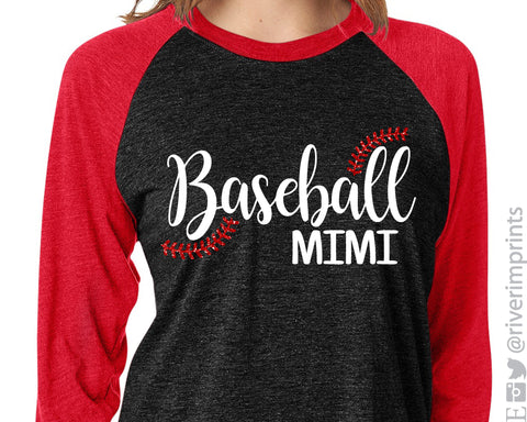 BASEBALL MIMI Glittery Triblend Raglan by River Imprints