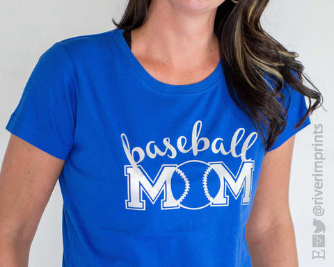 BASEBALL MOM cursive, shiny foil t-shirt