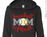 BASEBALL SOFTBALL MOM Glittery Midweight Hooded Sweatshirt by River Imprints