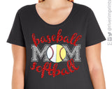 BASEBALL SOFTBALL MOM Glittery Curvy Collection Women's Scoopneck Tee