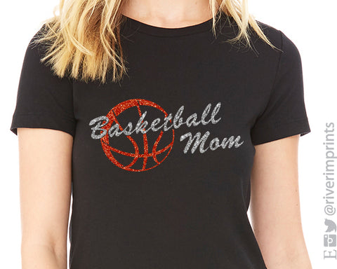 BASKETBALL MOM Glittery Cotton Tee River Imprints