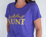 BASKETBALL AUNT cursive, sparkly glitter t-shirt with your choice of color
