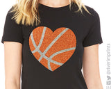 HEART BASKETBALL glittery tee