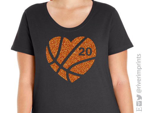 BASKETBALL HEART Glittery Curvy Collection Women's Scoopneck Tee