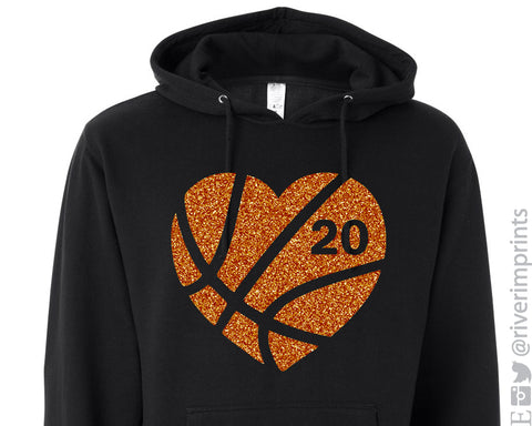 BASKETBALL HEART Glittery Hooded Sweatshirt or Tee