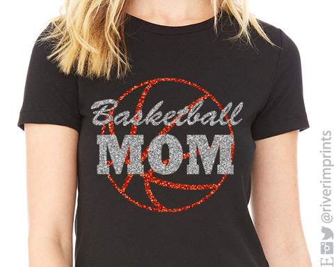 BASKETBALL MOM glittery t-shirt