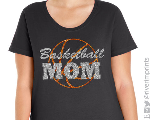 BASKETBALL MOM Glittery Curvy Collection Women's Scoopneck Tee