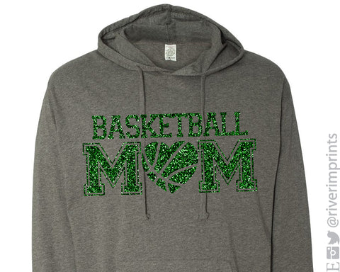 BASKETBALL MOM with HEART Glittery Hoodie
