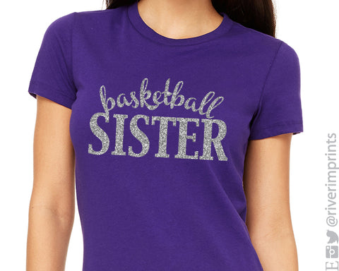 BASKETBALL SISTER cursive, sparkly glitter t-shirt