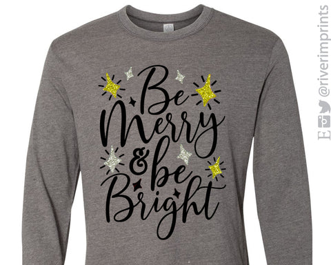 BE MERRY & BE BRIGHT Vintage Jersey Long Sleeve Tee