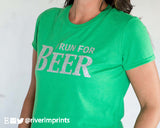 I RUN FOR BEER Glittery Performance T-Shirt