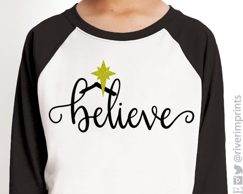 BELIEVE IN JESUS Glittery Youth Raglan