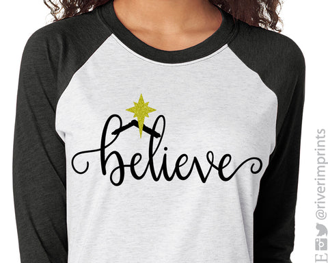 BELIEVE in JESUS Glittery Triblend Raglan by River Imprints