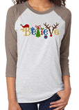 BELIEVE IN SANTA Sublimated Triblend Raglan - READY TO SHIP