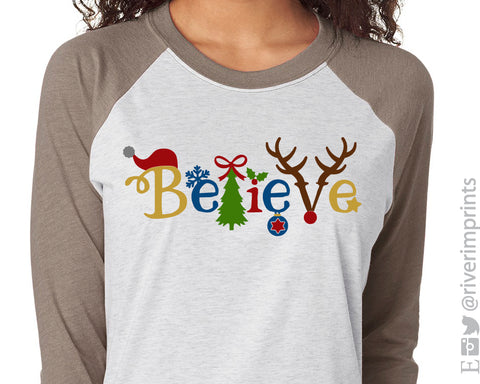 BELIEVE IN SANTA Sublimated Triblend Raglan by River Imprints