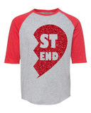 BEST FRIEND HEART Glittery Raglan Youth Tee