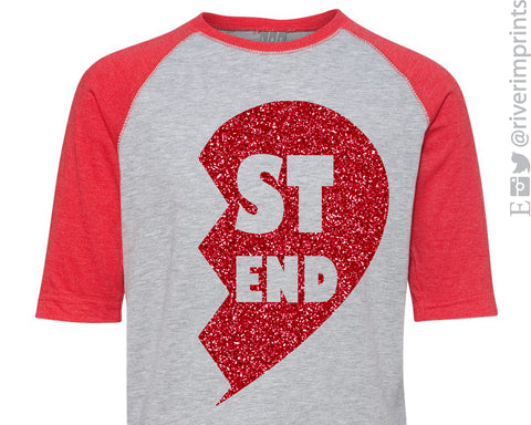 Best Friend Heart glittery raglan 3/4 sleeve shirt