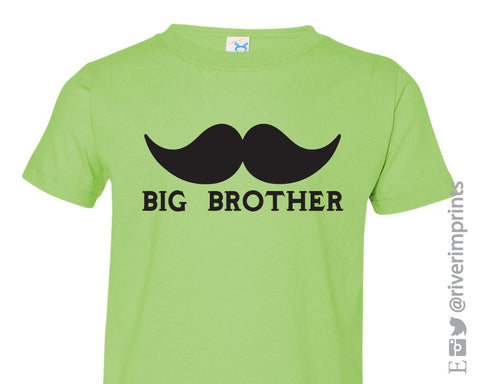 Toddler MUSTACHE BIG BROTHER, toddler boy announcement tshirt