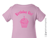 Baby BIRTHDAY GIRL, cupcake one piece