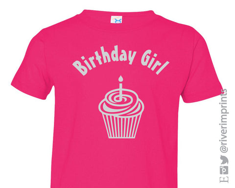 Toddler BIRTHDAY GIRL shiny foil cupcake bodysuit one piece or tee shirt