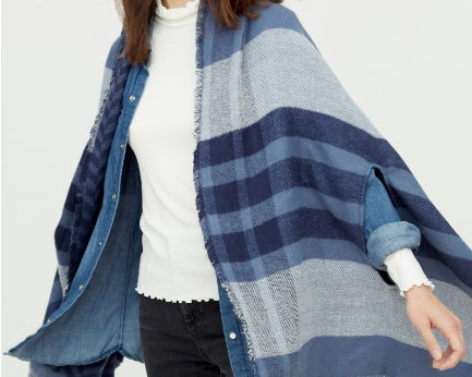 Plaid rough edge kimono shawl - Blue