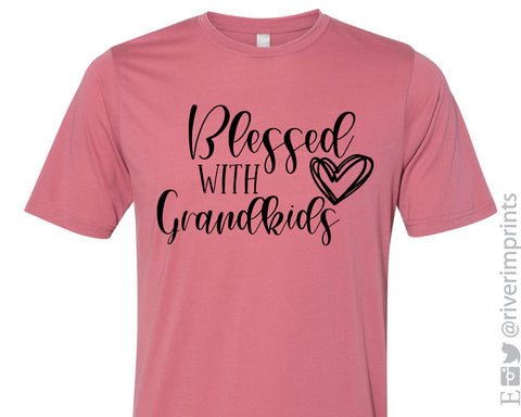 BLESSED WITH GRANDKIDS Glitter Blend Tee Shirt - READY TO SHIP