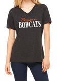 BRAYMER BOBCATS Glittery Womens Bobcat School Mascot V-neck Cotton Tee Shirt
