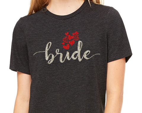 BRIDE Glittery Hearts Triblend Tee River Imprints