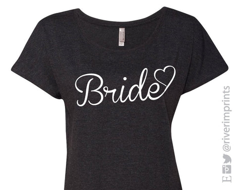 BRIDE HEART Glittery Triblend Dolman by River Imprints
