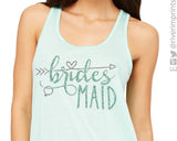 BRIDESMAID WITH HEART ARROW Glittery Flowy Tank