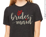 BRIDESMAID Glittery Hearts Triblend Tee River Imprints