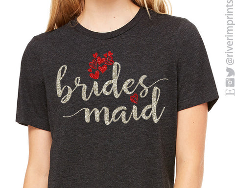 BRIDESMAID Glittery Hearts Triblend Tee
