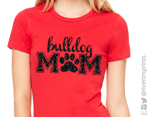 BULLDOG MOM Glittery Cotton Tee