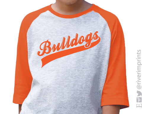BULLDOGS Youth Bulldog School Mascot Blend Raglan Shirt