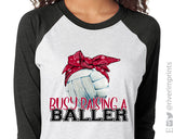 BUSY RAISING BALLERS Volleyball Sublimated Triblend Raglan by River Imprints