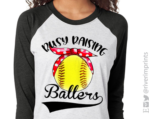 BUSY RAISING BALLERS Sublimated Triblend Raglan by River Imprints