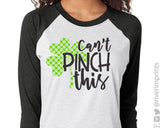 CAN'T PINCH THIS Polka Dot Shamrock Raglan Unisex Triblend Tee