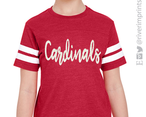 CARDINALS Girls Glitter Striped Sleeve Shirt Blend Tee Youth Cardinal School Mascot Glittery Tee Shirt