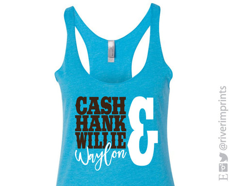 CASH HANK WILLIE & WAYLON Ladies Triblend Tank