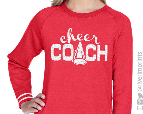 CHEER COACH Glitter Womens Crewneck Accent Striped Sweatshirt