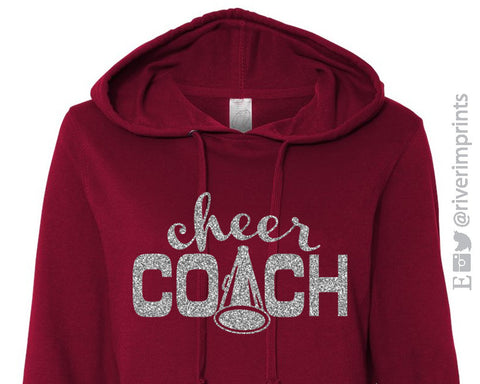 CHEER COACH Glittery Midweight Hooded Sweatshirt by River Imprints