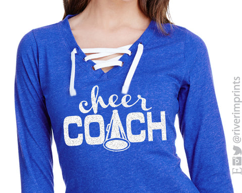 CHEER COACH Womens Glitter Lace Up V-neck Long Sleeve Blend Tee Shirt
