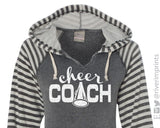 CHEER COACH Hoodie Glittery Womens Striped Hooded Sweatshirt