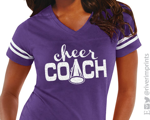 CHEER COACH Womens Glitter Striped Sleeve Shirt V-neck Blend Tee Shirt