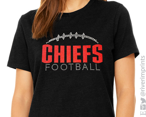CHIEFS FOOTBALL Personalized Glittery Chief School Mascot Triblend Tee Shirt