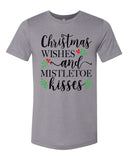 SALE - CHRISTMAS WISHES AND MISTLETOE KISSES Triblend Graphic Tee